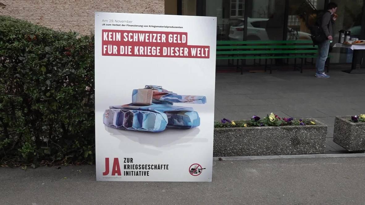 """سويسرا: مؤيدو حظر تمويل الأسلحة ينتقدون الحكومة """"لادعاء الحيادية"""" مع """"مواصلة تحقيق الربح من الحرب"""""""