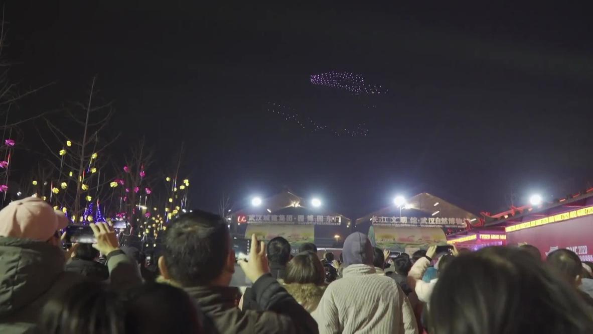 Drones realizan un impresionante espectáculo de luces en el carnaval de E-Sports de Wuhan