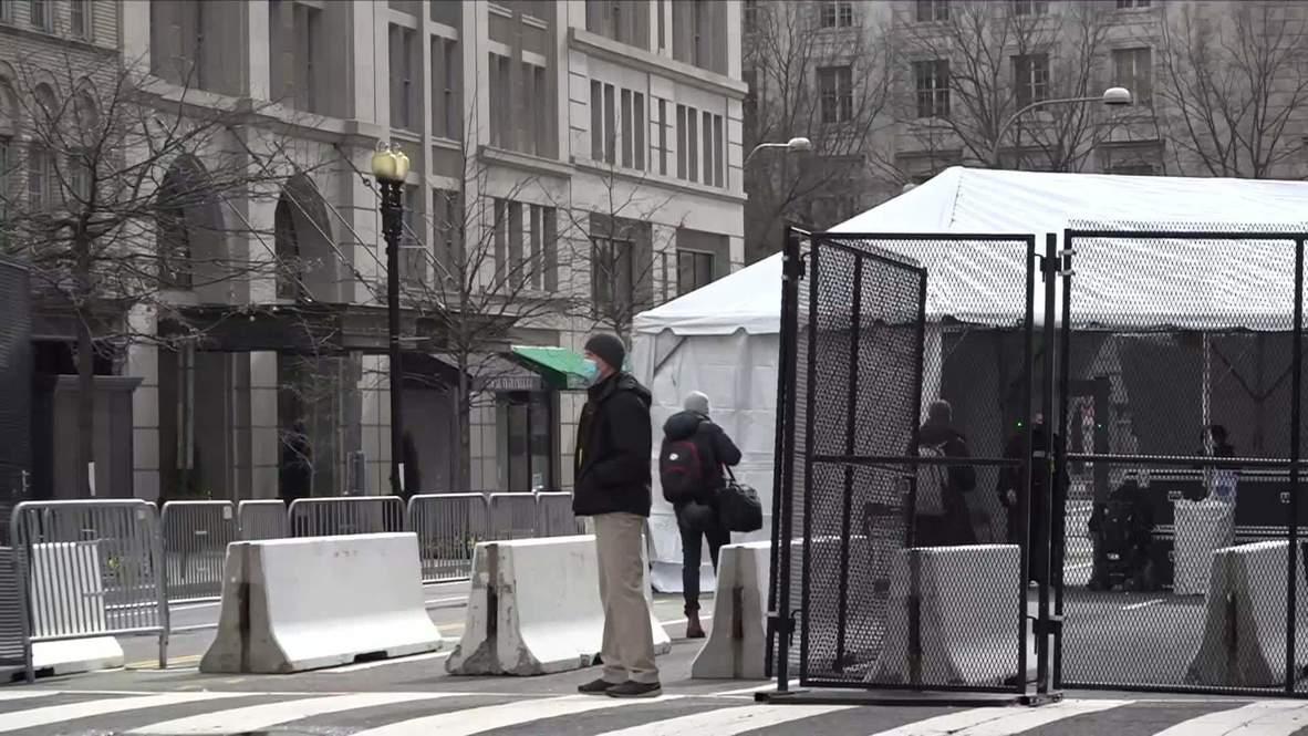 الولايات المتحدة الأمريكية: عناصر الحرس الوطني يقيمون حواجز طرقية ويؤمّنون مناطق في العاصمة قبل حفل تنصيب الرئيس