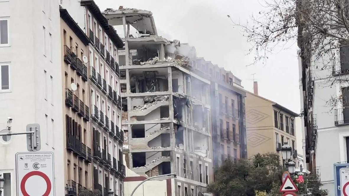 España: Potente explosión destruye un edificio en Madrid