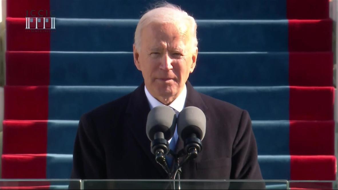 """الولايات المتحدة الأمريكية: بايدن في خطاب التنصيب: """"يجب أن ننهي هذه الحرب غير المتحضرة"""""""