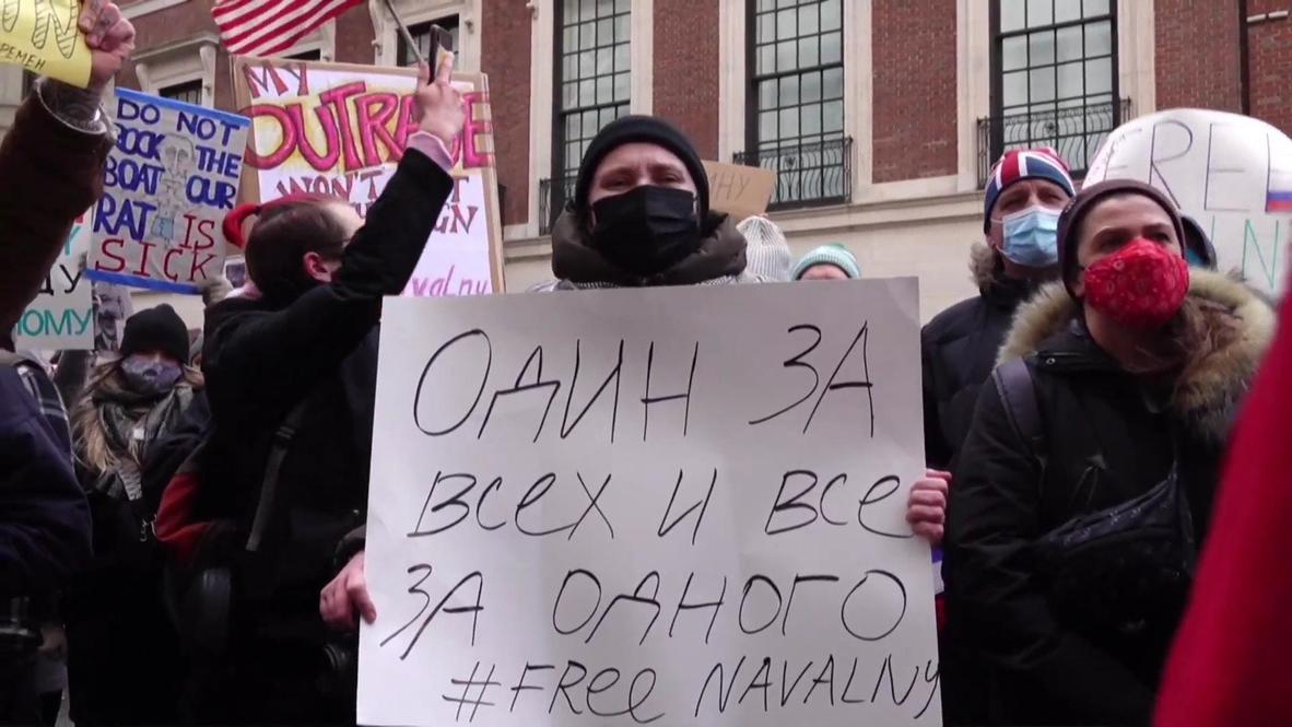 EE.UU.: Manifestantes exigen la liberación de Navalny frente al consulado ruso de NY