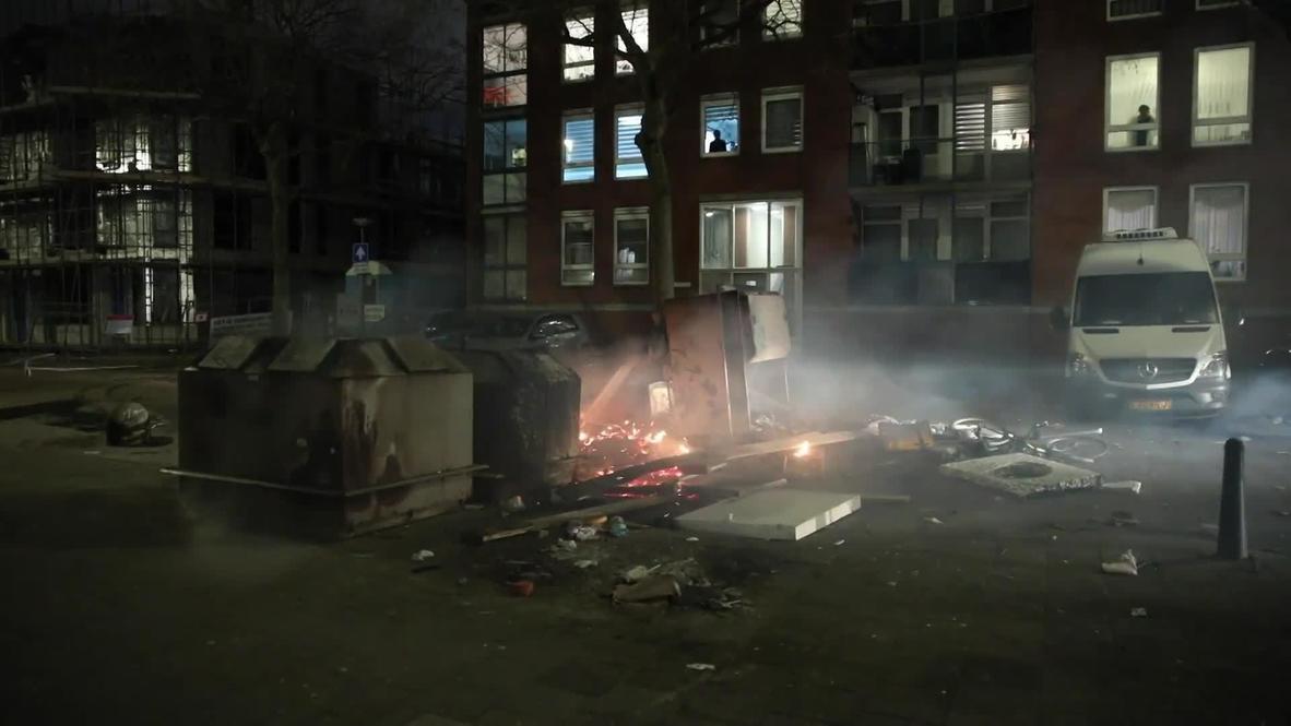 هولندا: فوضى في شوارع روتردام مع احتدام أعمال الشغب بسبب حظر التجول لليلة الثالثة