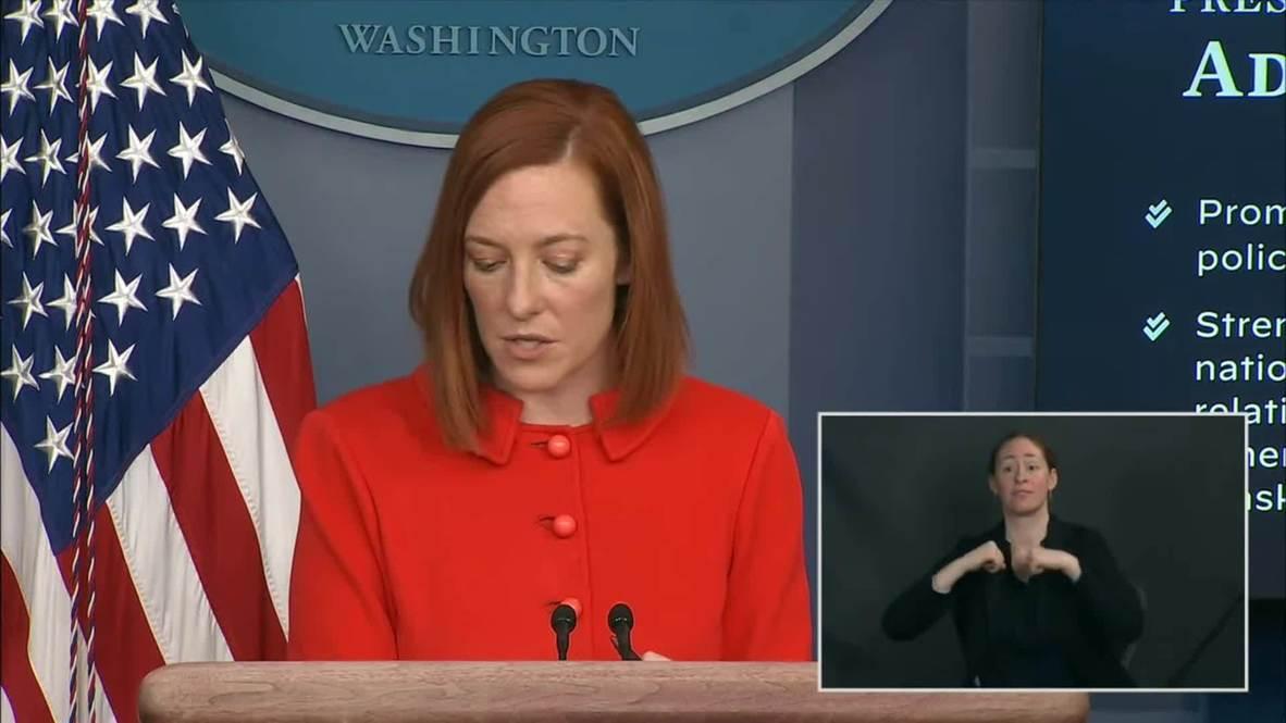 الولايات المتحدة الأمريكية: المتحدثة باسم البيت الأبيض: بايدن يجري أول مكالمة هاتفية مع بوتين